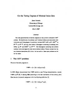 On the Turing Degrees of Minimal Index Sets