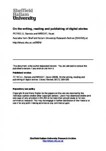 On the writing, reading and publishing of digital stories