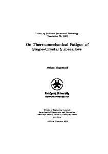 On Thermomechanical Fatigue of Single-Crystal Superalloys