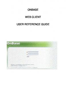 ONBASE WEB CLIENT USER REFERENCE GUIDE