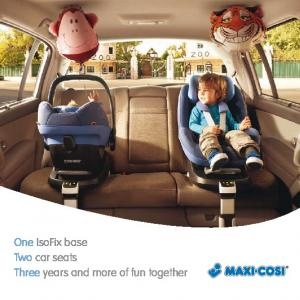 One IsoFix base Two car seats Three years and more of fun together