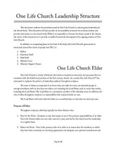 One Life Church Leadership Structure
