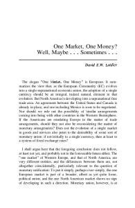One Market, One Money?