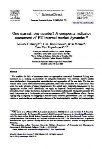 One market, one number? A composite indicator assessment of EU internal market dynamics $