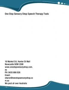 One Stop Sensory Shop Speech Therapy Tools