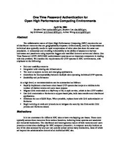 One Time Password Authentication for Open High Performance Computing Environments
