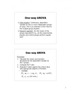 One-way ANOVA. One-way ANOVA