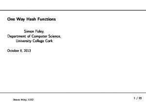 One Way Hash Functions