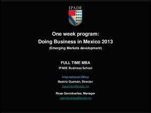 One week program: Doing Business in Mexico 2013