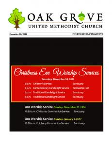 One Worship Service, Sunday, December One Worship Service, Sunday, January 1, :30 a.m. Christmas Communion Service Sanctuary