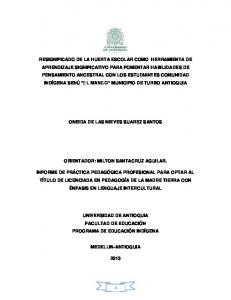 ONEIDA DE LAS NIEVES SUAREZ SANTOS ORIENTADOR: MILTON SANTACRUZ AGUILAR