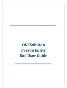 ONESolution Person Entity End User Guide