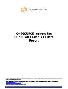 ONESOURCE Indirect Tax Q3 13 Sales Tax & VAT Rate Report