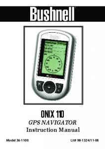 ONIX 110 GPS NAVIGATOR Instruction Manual