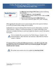 Online Banking Express Web Connect Conversion Quicken Windows 2010, 2011
