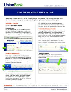 ONLINE BANKING USER GUIDE