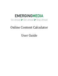 Online Content Calculator. User Guide