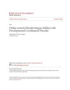 Online control of handwriting in children with Developmental Coordination Disorder