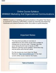 Online Course Syllabus MNM620 Marketing And Organizational Communications. Important Notes: