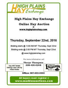 Online Hay Auction. Thursday, September 22nd, 2016