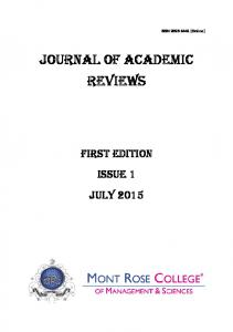 (Online) JOURNAL OF ACADEMIC REVIEWS