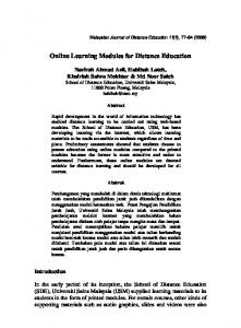 Online Learning Modules for Distance Education