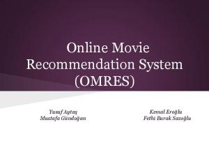 Online Movie Recommendation System (OMRES)