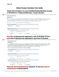 Online Pension Calculator User Guide