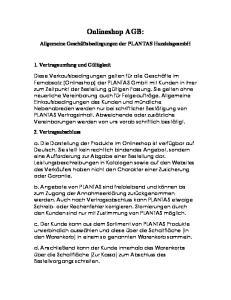 Onlineshop AGB: Allgemeine Geschäftsbedingungen der PLANTAS HandelsgesmbH