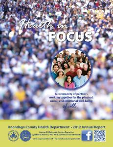 Onondaga County Health Department Mission. Vision. Onondaga County Legislature Health Committee