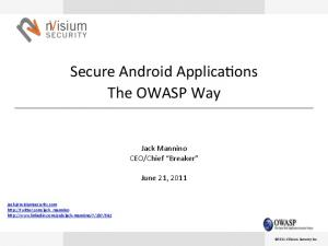 ons The OWASP Way