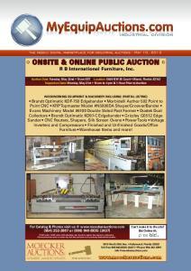 ONSITE & ONLINE PUBLIC AUCTION R B International Furniture, Inc