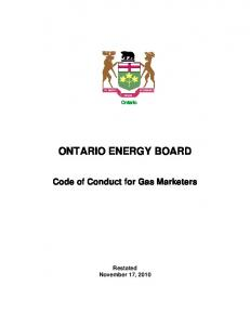 ONTARIO ENERGY BOARD. Code of Conduct for Gas Marketers