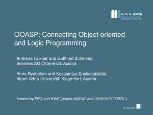 OOASP: Connecting Object-oriented and Logic Programming
