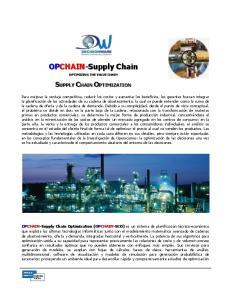 OPCHAIN-Supply Chain SUPPLY CHAIN OPTIMIZATION