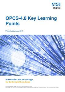 OPCS-4.8 Key Learning Points