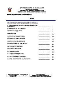 OPD HOSPITAL CIVIL DE GUADALAJARA DIRECCION GENERAL SUBDIRECCION GENERAL ADMINISTRATIVA COORDINACION GENERAL DE RECURSOS HUMANOS INDICE