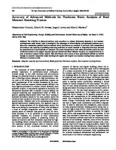 Open Access Accuracy of Advanced Methods for Nonlinear Static Analysis of Steel Moment-Resisting Frames