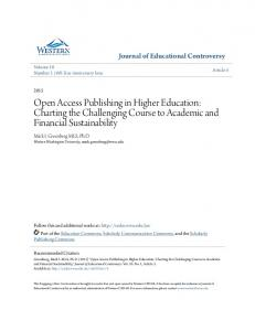 Open Access Publishing in Higher Education: Charting the Challenging Course to Academic and Financial Sustainability