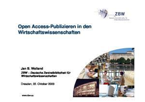 Open Access-Publizieren in den Wirtschaftswissenschaften