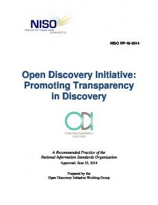 Open Discovery Initiative: Promoting Transparency in Discovery