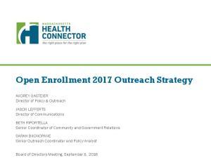 Open Enrollment 2017 Outreach Strategy