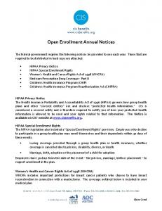 Open Enrollment Annual Notices