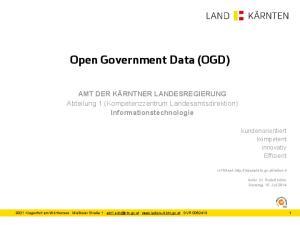 Open Government Data (OGD)