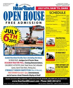 Open House. SCHEDULE 5K Road Race...Registration 6:00am; Race 7:00am FREE ADMISSION.  Phone (660)