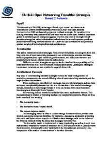 Open Networking Transition Strategies Howard C. Berkowitz