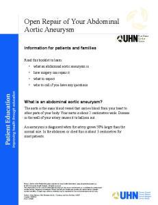 Open Repair of Your Abdominal Aortic Aneurysm