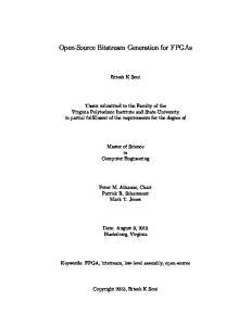 Open-Source Bitstream Generation for FPGAs