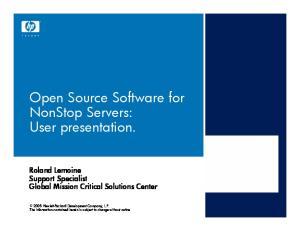 Open Source Software for NonStop Servers: User presentation