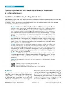 Open surgical repair for chronic type B aortic dissection: a systematic review